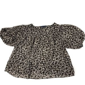American Living Womens Blouse, Black Floral Large